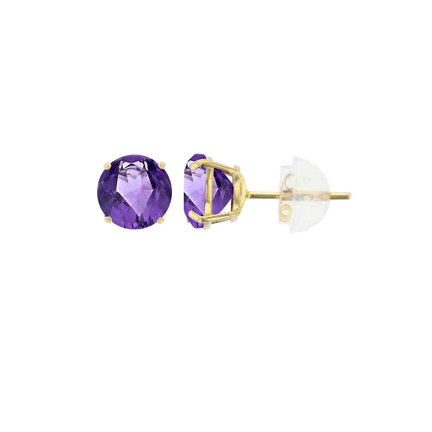 Prong Set Gold Earrings For Women Natural Gemstones White or Rose Gold 4mm Round Genuine Gemstone Birthstone Stud Earrings Solid Gold Solid 10K Yellow