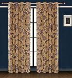 Dolce Mela DMC469 Jacquard Damask Drapery Window Treatments with Grommet Curtain Panel, Venus For Sale