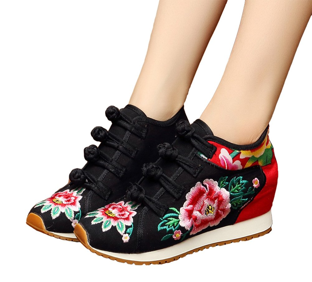 AvaCostume Womens Peony Embroidery Wedge Casual Travel Walking Shoes B07DJZZVT6 35 M EU Black(inner Lining Cotton)