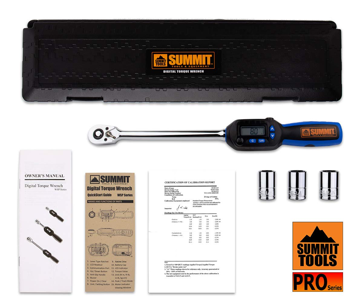 Summit Tools Digital Torque Wrench with 1/2-inch DR and 5-99.5 ft-lbs Torque Range, Buzzer and Sequential LED, 0.1 ft-lb Resolution with ±3% Tolerance, Certificate of Calibration (WSP4-135CN) by Summit Tools (Image #7)