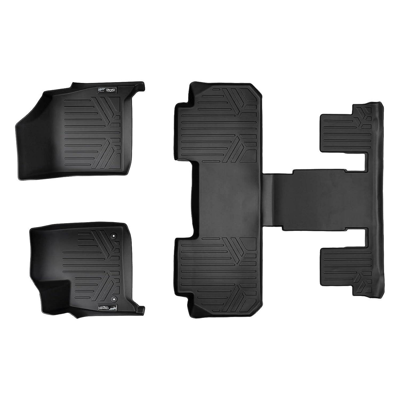 SMARTLINER Floor Mats 3 Row Liner Set Black for 2018-2019 Buick Enclave with 2nd Row Bucket Seats