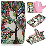Moto G 3rd Gen Case,Gift_Source [Tree and Leaf] [Wallet Function] [Stand Feature] Magnetic Snap Case Wallet Premium Wallet Case Flip Case Cover for Motorola Moto G3 (3rd Generation)
