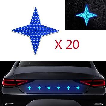 Set di 10 adesivi riflettenti a forma di stella blu