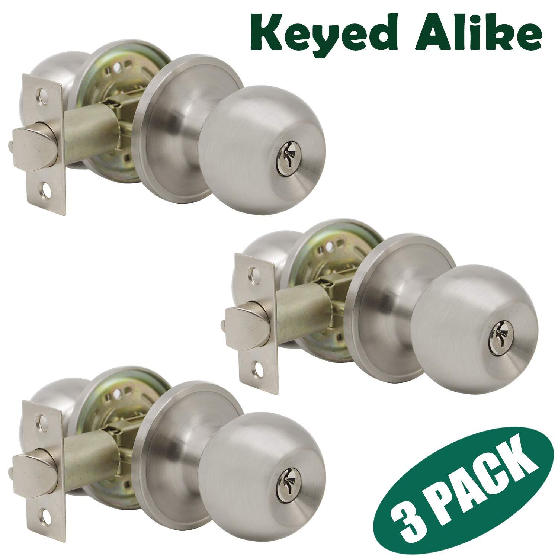 Probrico Satin Nickel Finish One Keyway Door Knobs Hardware Entry with Key Handles Keyed Alike Door Lockset, 3 Pack, Keyed Hardware