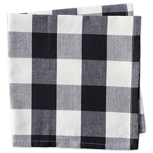DII Cotton Buffalo Check Oversized Basic Cloth Napkin for Everyday Place Settings, Farmhouse Décor, Family Dinners, BBQ's, and Holidays (20x20, Set of 6) Black & White