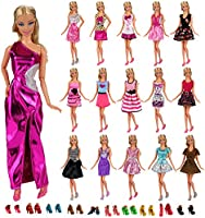 Miunana 12 PCS Abiti Vestiti + 10 PCS Scarpe Per Principessa Bambola