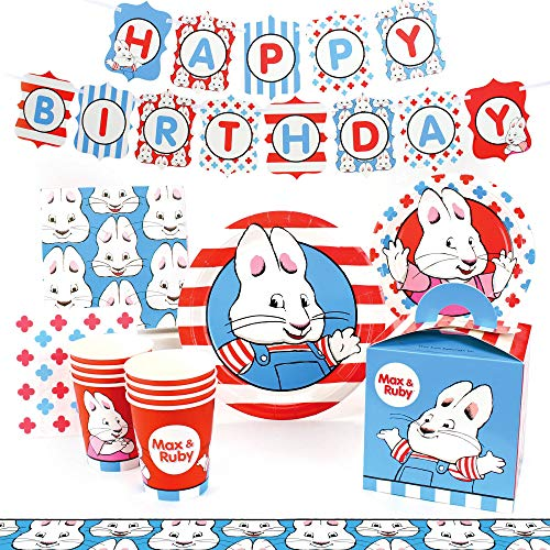 Max and Ruby Birthday Party Supplies (Deluxe) Birthday Party Pack, 74 Piece Set, by Prime ()