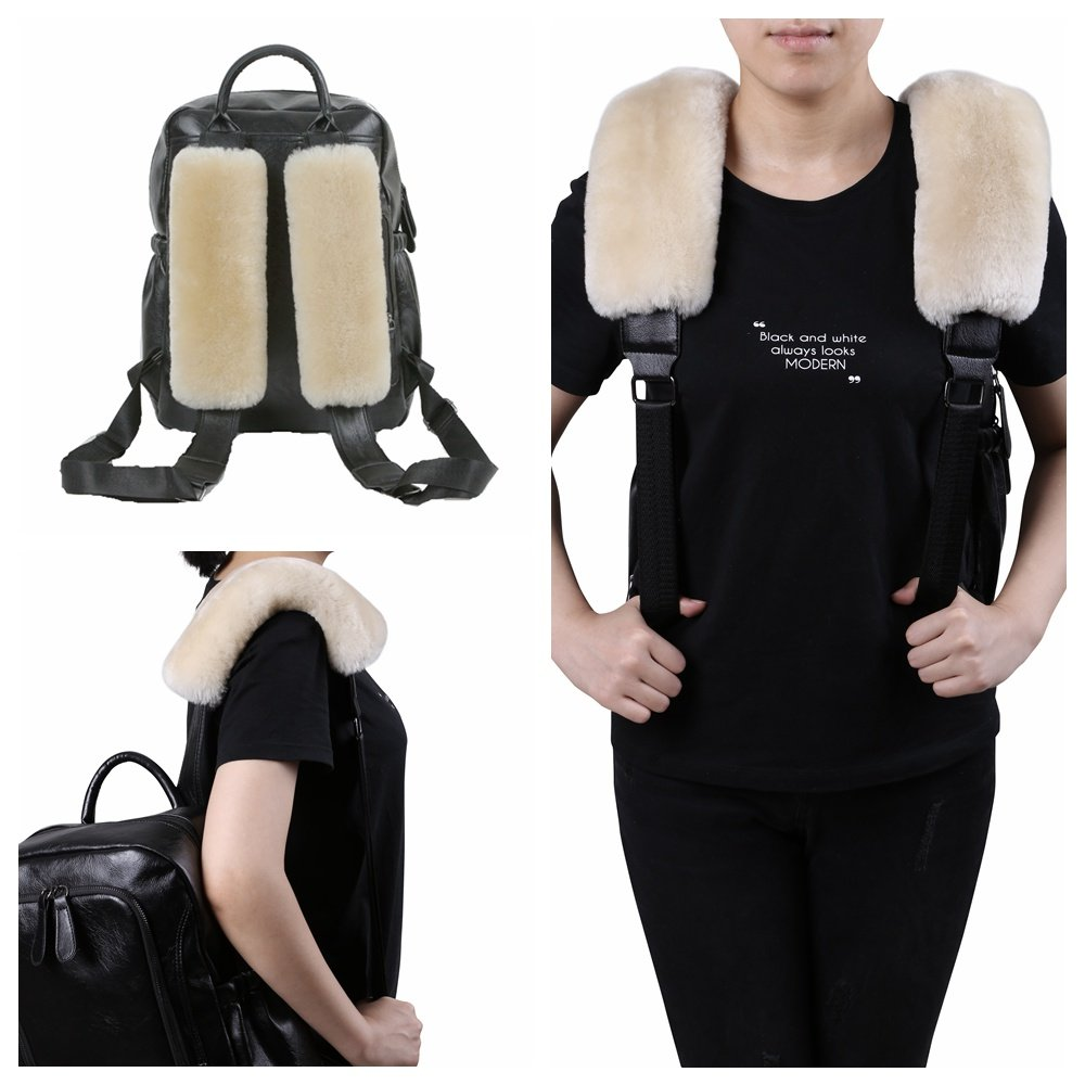 Pearl Dotesy 2 Pcs Auto Pure Wool Seat Belt Cover Shoulder Pads Universal for Car Truck SUV Airplane Backpack Strap Shoulder Chest Neck Cushion in Genuine Australian Sheepskin