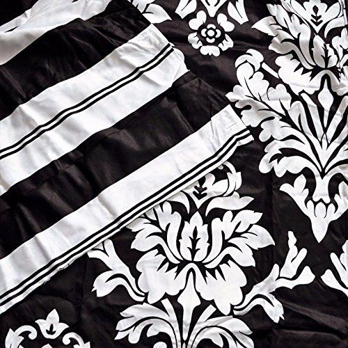 Havana BLACK WHITE DAMASK King DUVET Comforter Cover 3pc SET 300tc Cotton Sateen New