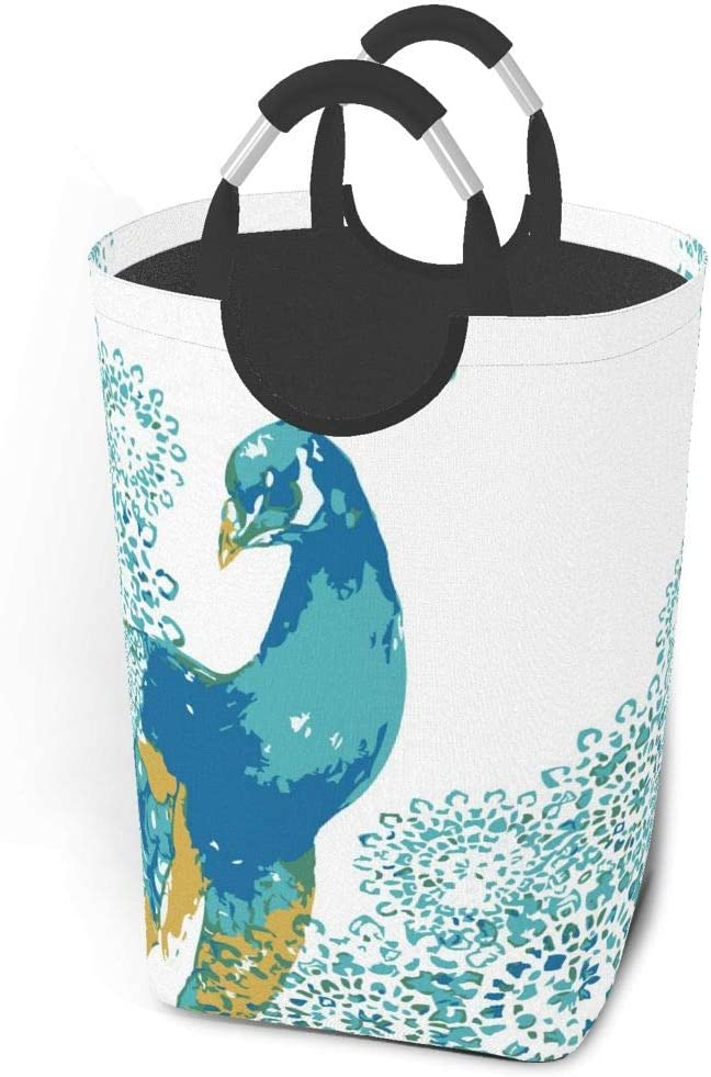 Collapsible Laundry Baskets,Dirty Laundry Hamper,Watercolor Beautiful Cute Peacock,Colapsable Laundry Basket Metal Handles,Dorm Collaspable Laundry Basket Fabric For Camp Travel Kids Baby Girl Boy