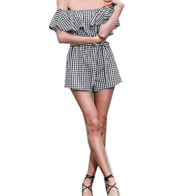 cc0997fd1ce Taiduosheng Women s Off-Shoulder Black and White Stripes Floral Short  Romper Jumpsuit with a Belt