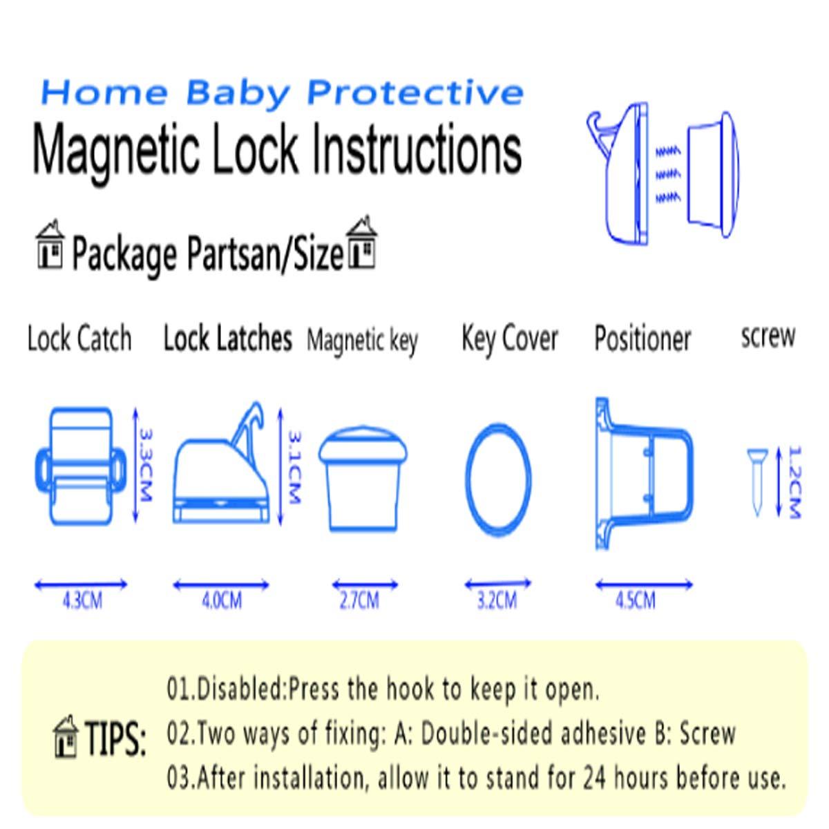 4 cerraduras 1 llaves Mengger Cerraduras Magn/éticas de Seguridad Beb/és y Ni/ños Puertas para Armario Cajones Gabinetes Todos F/ácil Instalar Cinta Adhesiva 3M Sin la Perforaci/ón