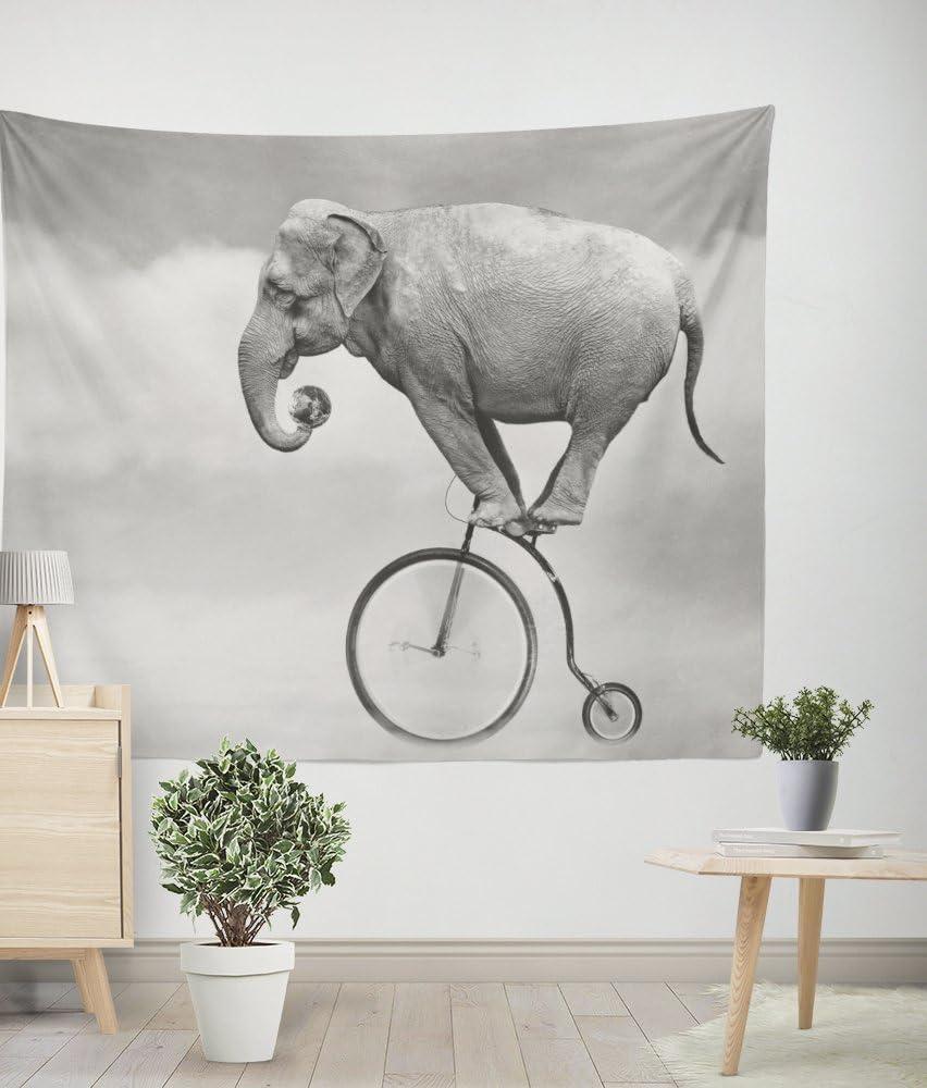 Funny elefantes bicicleta humor tapete de pared tela dormitorio ...