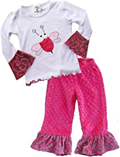 product image for Cheeky Banana Little Girls Doodlebug Applique Tee/Minky Ruffle Pants-Waterm