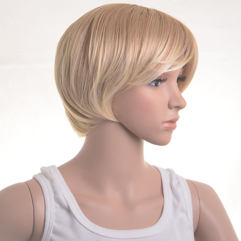 Coolsky Wig Short Blond Straight Woman Hair Cosplay wigs Costume Wigs