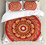 Elephants Decor Queen Size Duvet Cover Set by Ambesonne, Round Pattern with Decorated Elephants Meditation Faith India Tribal, Decorative 3 Piece Bedding Set with 2 Pillow Shams