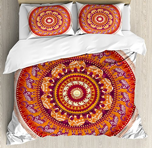 Elephants Decor Queen Size Duvet Cover Set by Ambesonne, Round Pattern with Decorated Elephants Meditation Faith India Tribal, Decorative 3 Piece Bedding Set with 2 Pillow Shams by Ambesonne