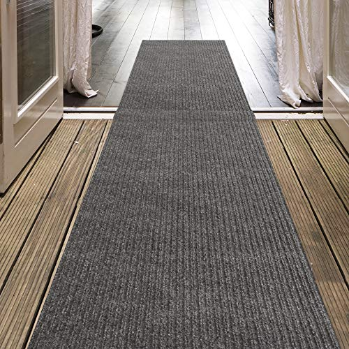 iCustomRug Indoor/Outdoor Utility Ribbed Carpet Runner and Area Rugs in Grey, Many