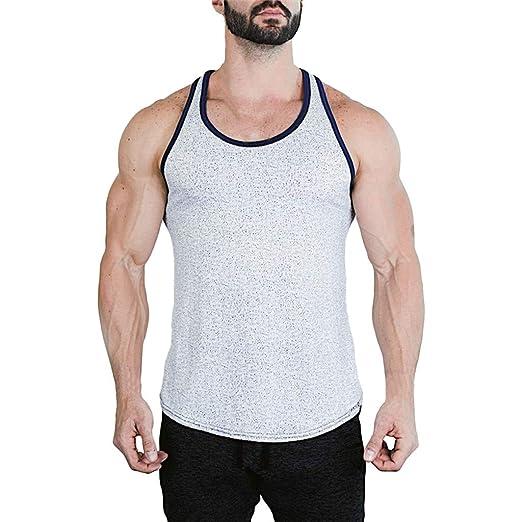 f17f1bbc28ebb Dainzuy Men s Muscular Sleeveless Tank Tops Bodybuilding Athletic T-Shirts  Summer Casual Sport Fitness Vest