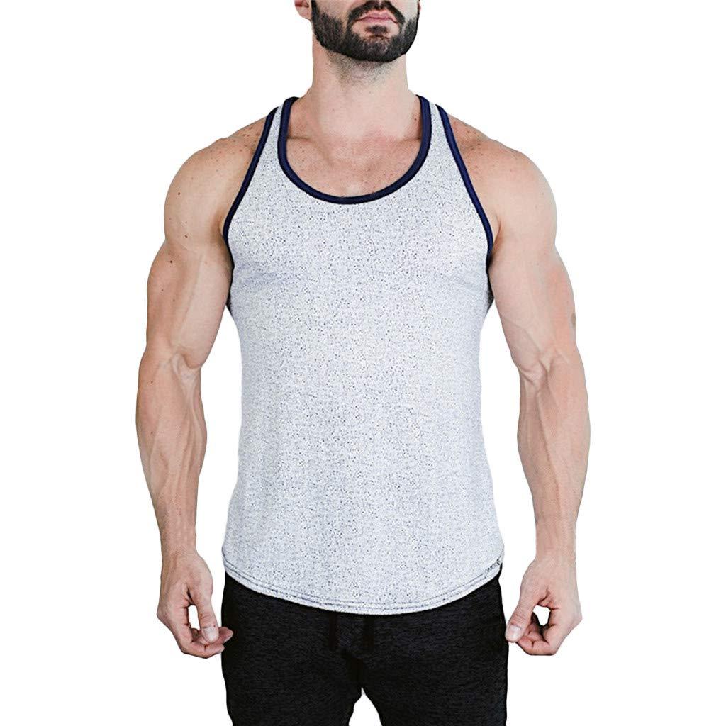Gibobby Men's Sleeveless Casual Tank Dew Shoulder Blades Wave Point Printing Bodybuilding Undershirts Sport Fitness Gym Vest