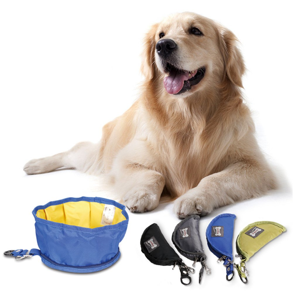 NACOCO Dog Collapsible Travel Bowl Oxford Waterproof Food Water Folding Pet Bowl (Grey)