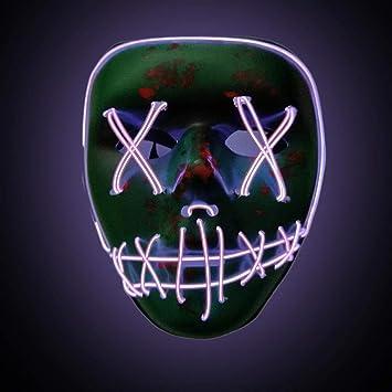 PROKTH Mascaras de Halloween Mascara led Hombre Disfraz la Purga Mujer Mascaras de la Purga Terror Decoración de Halloween Púrpura 1PC: Amazon.es: Hogar