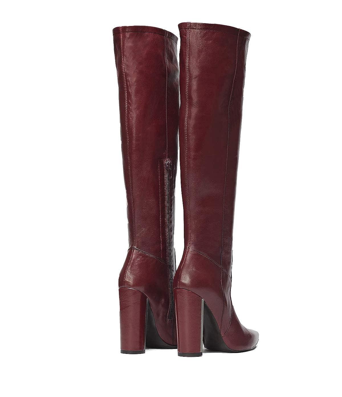Poi Lei Damen-Schuhe Langschaftstiefel Langschaftstiefel Langschaftstiefel Clara Bordeaux Blockabsatz Leder 7329be