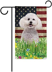 BAGEYOU Cute Puppy Bichon Frise Garden Flag Lovely Pet Dog American US Flag Wildflowers Floral Grass Spring Summer Seasonal Decorative Patriotic Banner for Outside 12.5x18 inch Printed Double Sided