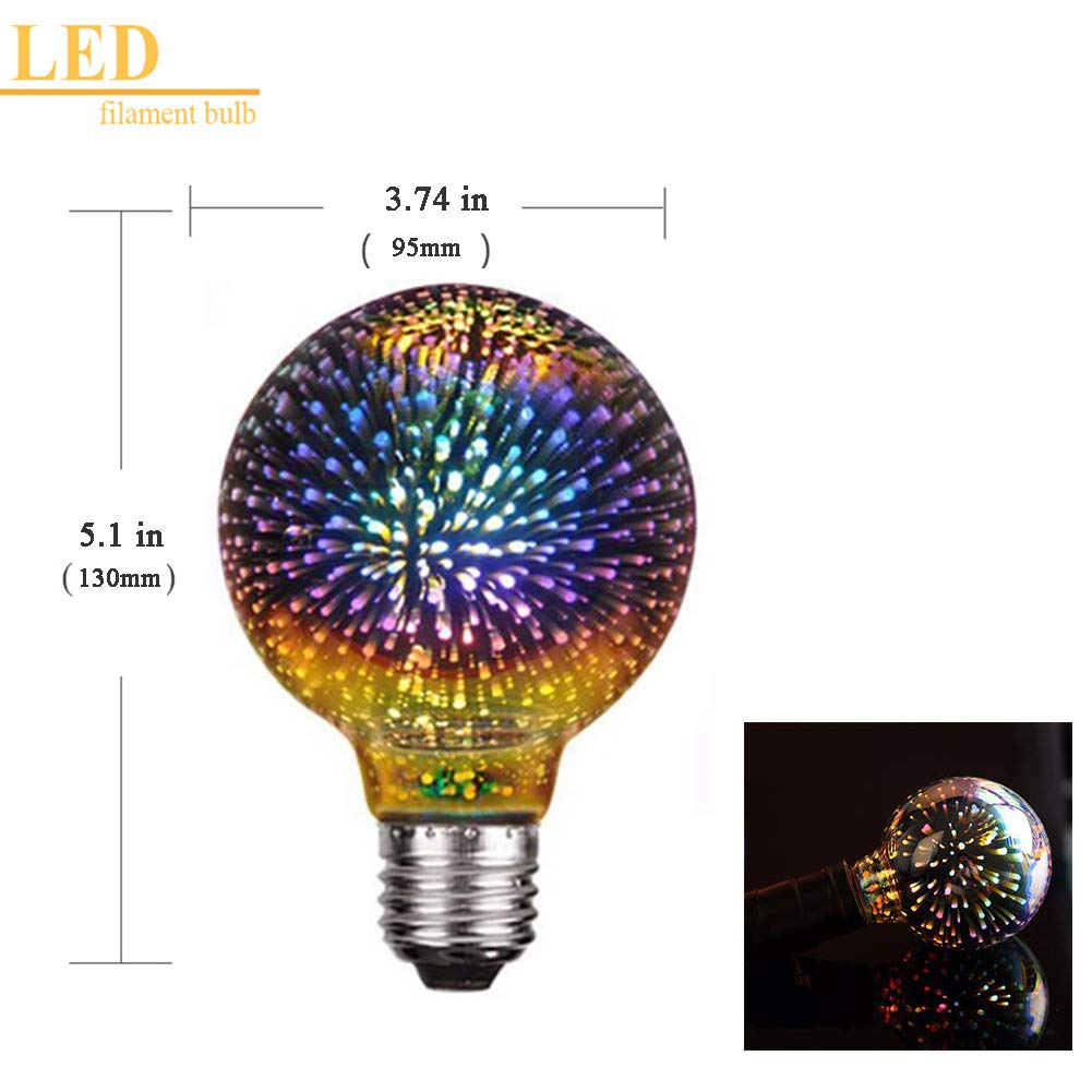 Amazon.com: Century Light - G95 4W LED 3D Globe Fireworks Star Light Bulb,E26 Base Vintage Edison Bulb Light for Holiday Home Bar Party Decoration Glass LED ...