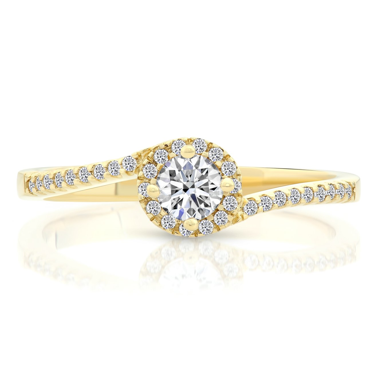 14k Gold Cubic Zirconia Classic Engagement Ring (yellow-gold, 9) by Tilo Jewelry