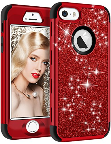 Vofolen Case for iPhone SE Case iPhone 5S Case Glitter Bling Shiny Heavy Duty Protection Full-Body Protective Cover Hard Shell Hybrid Silicone Rubber Armor + Front Bumper for iPhone 5 5S SE Red