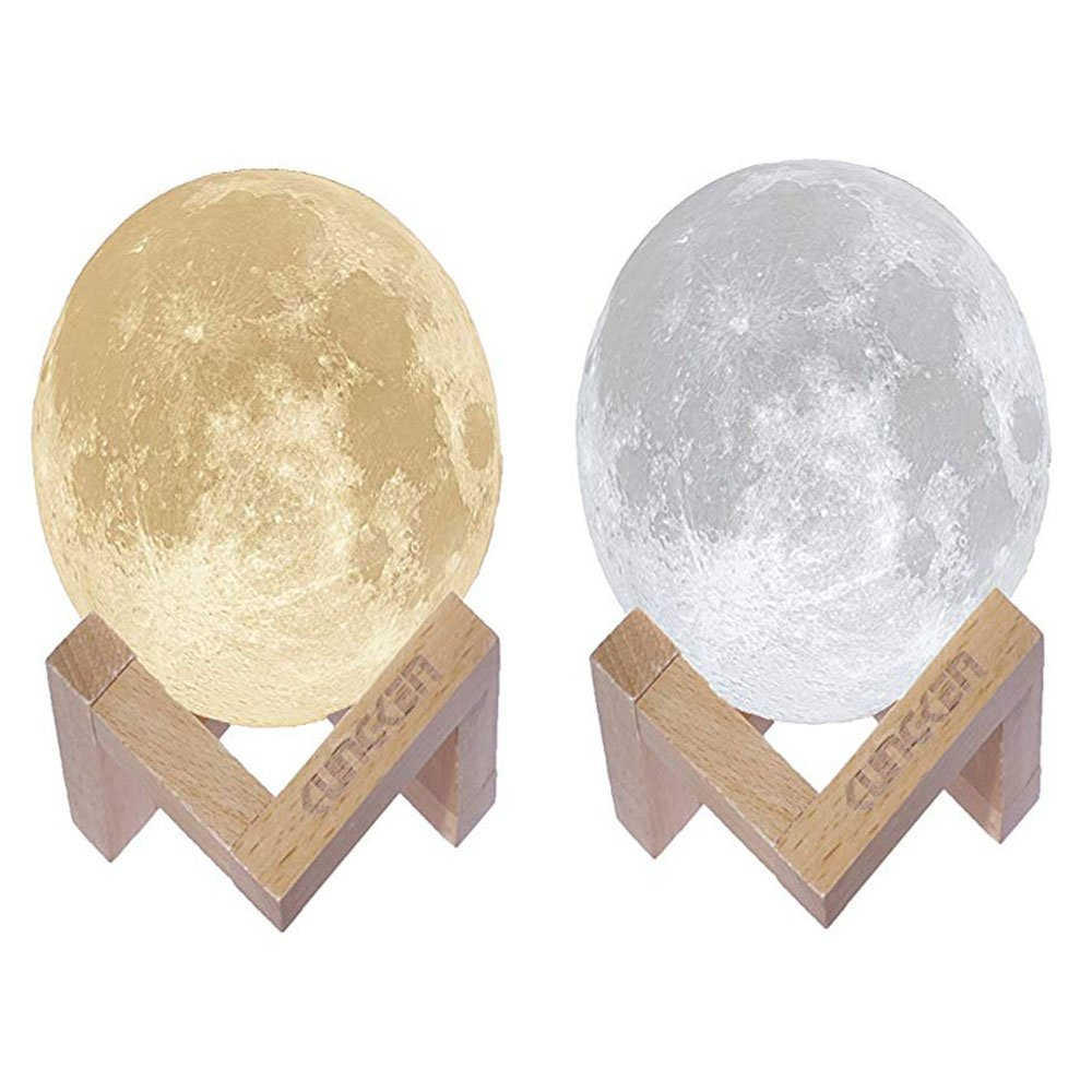 Nanle Colorful Discoloration Night light Rechargeable 3D Printing Moon Lamp Touch Switch Luna Night Light Color And Brightness Adjustable With Wooden Mount (Size : 7.1IN)