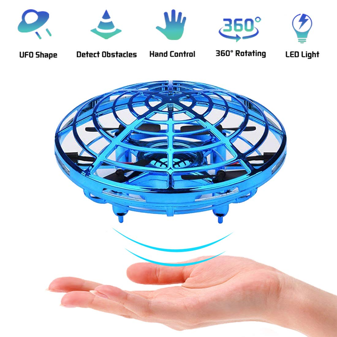 Kids Drone Toy, Flying Toys, Hand Control Drone for Kids Adults, Mini Flying Ball Helicopter with LED Light, Indoor Small Orb Flying Ball Drone Toys Gift for Boys or Girls, 360° Rotating Fun UFO Hover