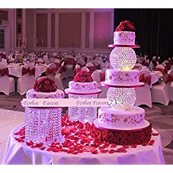 "Forbes Favors ™ Single Acrylic Crystal Chandelier Cake Stand With Battery LED Lights for Wedding Cake, Anniversary or Special Occasion ( Available in 6"", 8"", 10"", 12"" or 14"" Diameters )"