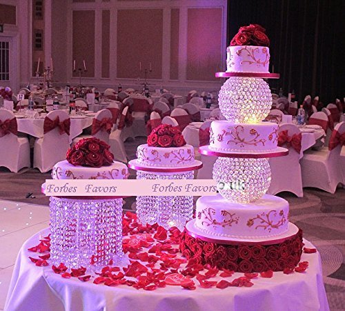 Wedding Cake Stand Set - Forbes Favors ™ Single Acrylic Crystal Chandelier Cake Stand With Battery LED Lights for Wedding Cake, Anniversary or Special Occasion ( Available in 6