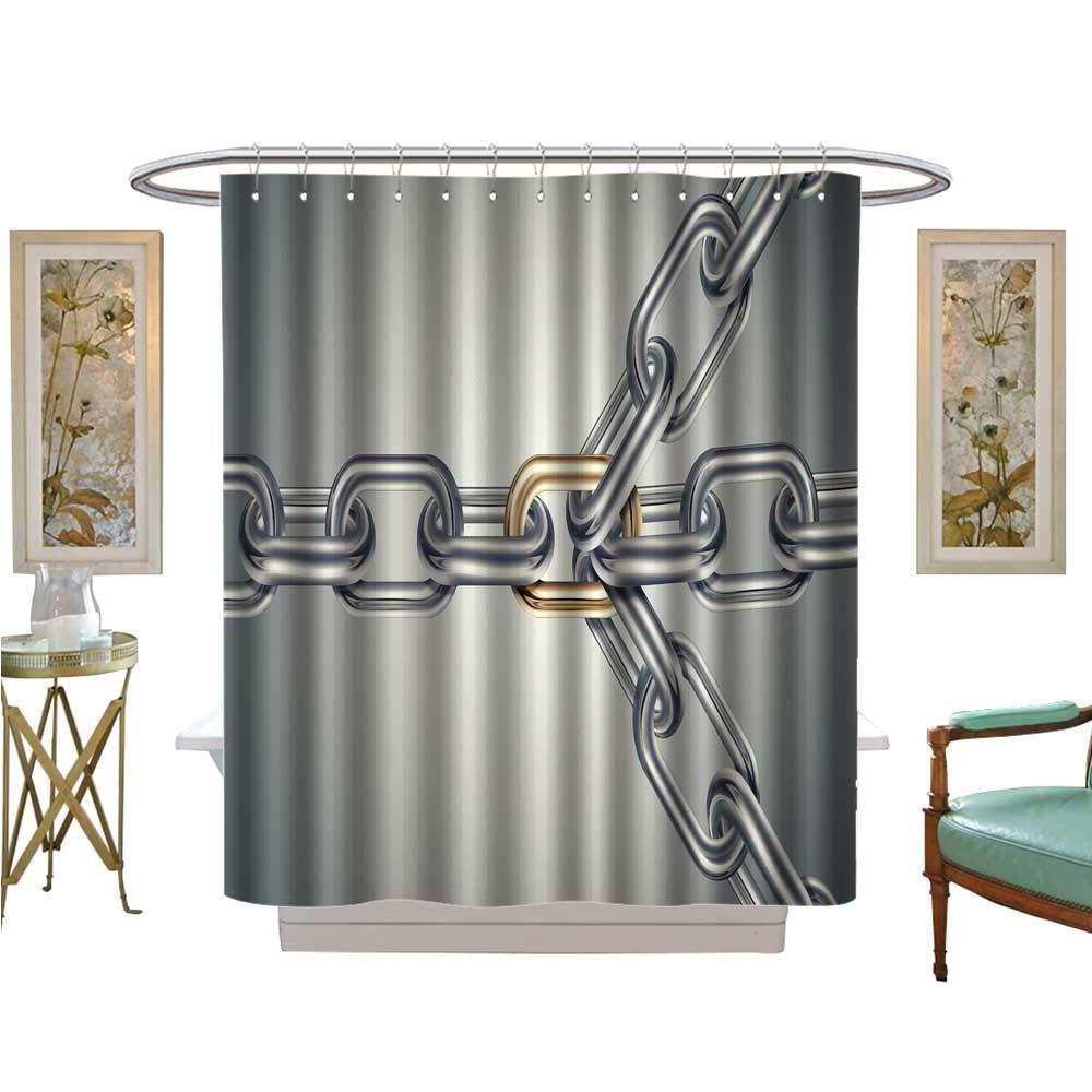 luvoluxhome シャワーカーテンコレクション Chain Link Dollar サテン生地 バスルーム 洗濯可能 W48