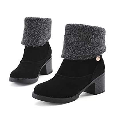 2e838548a366 Inornever Ankle Boots Women s Suede Round Toe Mid Calf Snow Shoes Low Chunky  Heel Trendy Slip