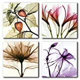 living room design ideas Moco Art Canvas paintings Wall Art Various Rose Oleander Transparent Flowers Painting Landscape Picture Print on Canvas for Living Room Decor Ready to Hang Stretched and Framed (30x30cmx4pcs)