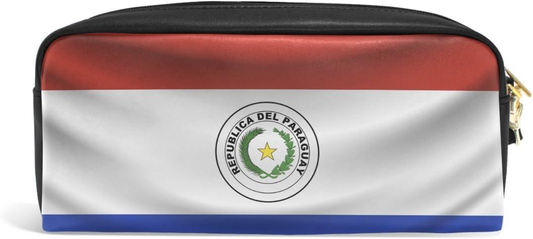 Estuche organizador de bolígrafos de piel sintética con bandera de Paraguay; estuche para maquillaje y cosméticos: Amazon.es: Oficina y papelería