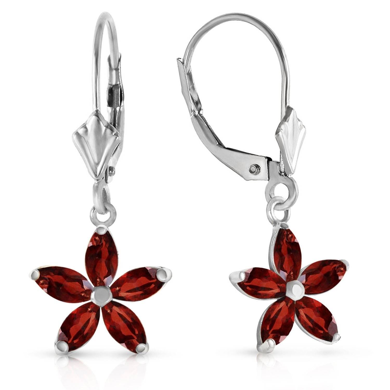 ALARRI 2.8 CTW 14K Solid White Gold Will To Love Garnet Earrings