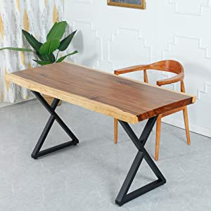 "Ethemiable 2 Pcs Metal Furniture Legs,28""H x 19.7""W Industrial Heavy Duty Rustic Triangle Shape Table Brackets,Modern Iron Office Desk Legs,Coffee/Dining/Bench/End Table Legs"
