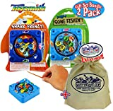 Toysmith Gone Fishin! & Shark Frenzy! Mini Wind-Up Fishing Games Gift Set Bundle with Exclusive Matty's Toy Stop Storage Bag - 2 Pack