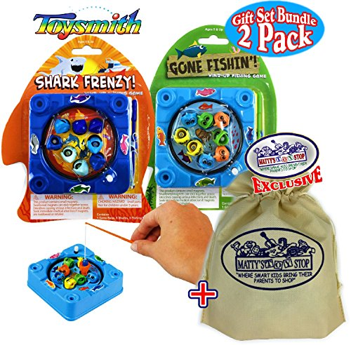 Toysmith Gone Fishin! & Shark Frenzy! Mini Wind-Up Fishing Games Gift Set Bundle with Exclusive Matty's Toy Stop Storage Bag - 2 Pack by Toysmith
