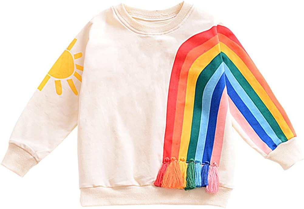 BINIDUCKLING Toddler Girl Sweatshirt Long Sleeve Top Kid Child Rainbow Graphic Print Pullover