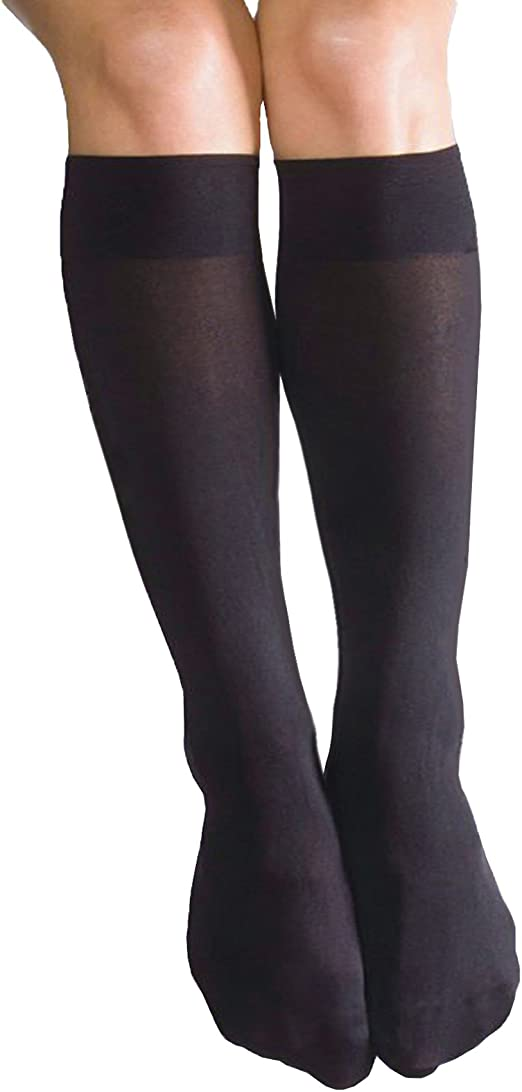 2 PAIRS POP SOCKS OPAQUE COMFORT TROUSER SOCKS KNEE HIGH SOX ONE SIZE 6 COLOURS