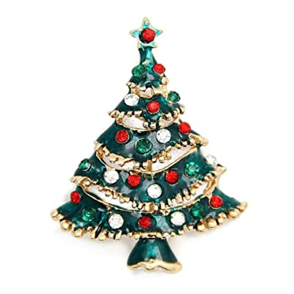 de8537271e0 Image Unavailable. Image not available for. Color: Botrong Rhinestone  Christmas Tree Brooch Pin ...