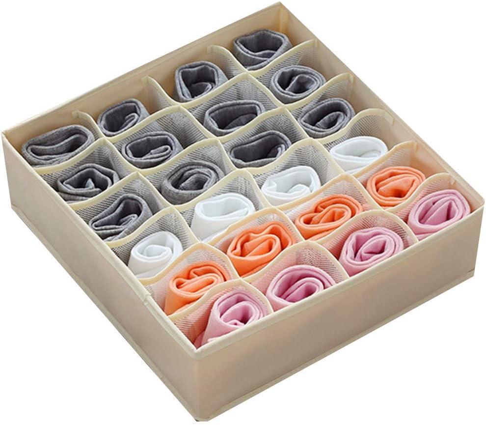 STYLIFING Underwear Organizer Foldable Cloth Drawer Organizer Soft Fabric Sock Organizers Dresser Drawer Divider Storage Bins for Underwear Socks Panties Ties Lingerie(Beige-24 Cells)