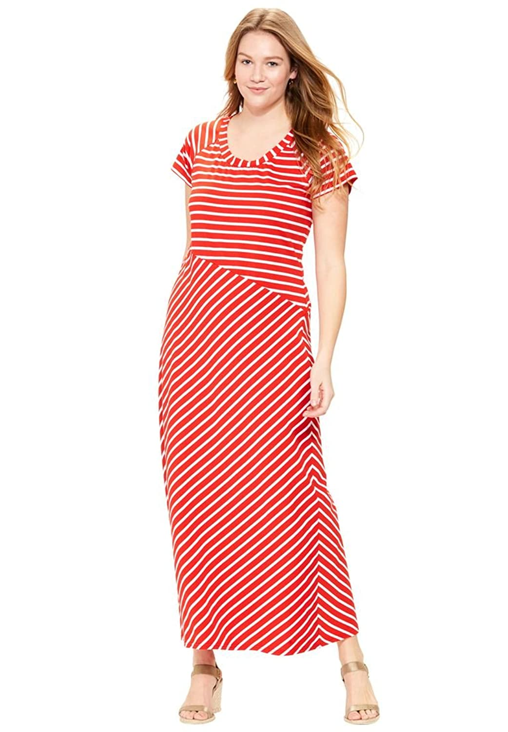 Women's Plus Size Criss-Cross Striped Maxi Dress