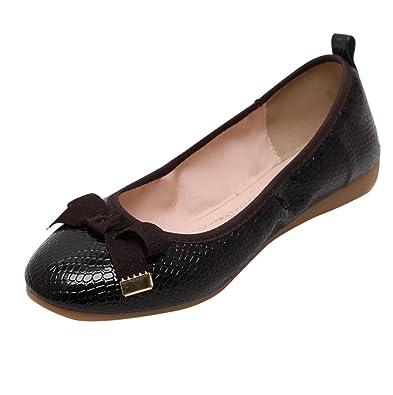 81ad5d739f1de8 Bayamte Femme Confortable Ballerines Pliable Plat Chaussures de Ville avec  Bowknot Noir Asia 35 (22