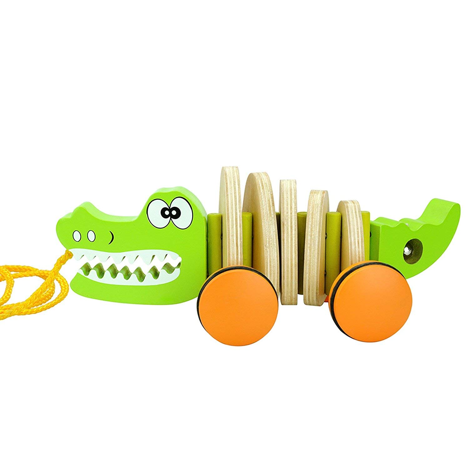 Timy Crocodile Wooden Pull Along Walking Educational Toy for Toddler Baby